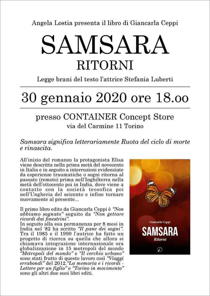 Angela Lostia presenta il libro di Giancarla Ceppi SAMSARA RITORNI-Legge brani del testo l-attrice Stefania Luberti